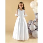 A beautiful satin and tulle communion dress with pretty beaded lace appliques finished with tulle waterfall sleeves with lace edging.