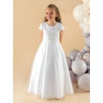 A pretty full length communion dress with sequin and bead flowers on the bodice finished with a matching waist band and plain tulle skirt