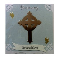 C4A - Grand son's Christening Card: You are welcome to visit Clothes Line shop SW London SW20 9NQ