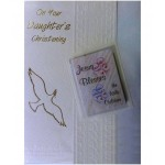 C5A - Daughter's Christening Card: You are welcome to visit Clothes Line shop SW London SW20 9NQ