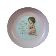 CH523 - Plastic Plate For A Girl: Ideal for Baptism/Christening. You are welcome to visit Clothes Line shop SW London SW20 9NQ for Christening Cards, Gifts, Shawls and Party items