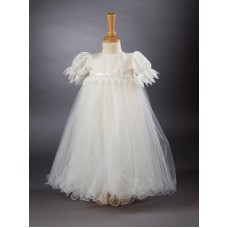 CH370 - A Long Gown With Satin Bodice: Ideal for Baptism/Christening. You are welcome to visit Clothes Line shop SW London SW20 9NQ for Christening Cards, Gifts, Shawls and Party items