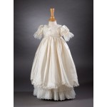 CH372 - A Long Pure Silk Gown: Ideal for Baptism/Christening. You are welcome to visit Clothes Line shop SW London SW20 9NQ for Christening Cards, Gifts, Shawls and Party items