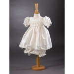 CH380 - A Stunning Short Pure Silk Dress: Ideal for Baptism/Christening. You are welcome to visit Clothes Line shop SW London SW20 9NQ for Christening Cards, Gifts, Shawls and Party items