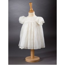 CH384 - A Pretty Short Dress With Pretty Sparkle Lace: Ideal for Baptism/Christening. You are welcome to visit Clothes Line shop SW London SW20 9NQ for Christening Cards, Gifts, Shawls and Party items