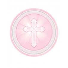 G316 - 8 - 9' inch Pink Christening Paper Plates: You are welcome to visit Clothes Line shop SW London SW20 9NQ