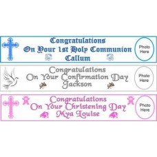 G359 - 10ft Personalised Christening Paper Banner to mark that special occassion: Ideal for Baptism/Christening. You are welcome to visit Clothes Line shop SW London SW20 9NQ for Christening Cards, Gifts, Shawls and Party items