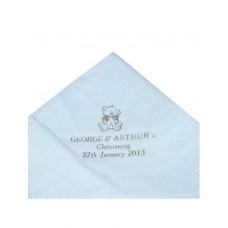 G368 - Pack of 50 Blue Personalised  Christening Serviettes: Please Allow 10 -12 Working Days for delivery. Ideal for Baptism/Christening. You are welcome to visit Clothes Line shop SW London SW20 9NQ for Christening Cards, Gifts, Shawls and Party items