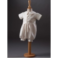 CH852 - Boys Dupion Romper Suit: Ideal for Baptism/Christening. You are welcome to visit Clothes Line shop SW London SW20 9NQ for Christening Cards, Gifts, Shawls and Party items