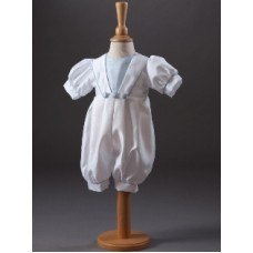 CH856 - Boys Romper In Satin Backed Dupion: Ideal for Baptism/Christening. You are welcome to visit Clothes Line shop SW London SW20 9NQ for Christening Cards, Gifts, Shawls and Party items