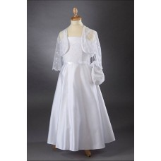 Lace Bodice & Satin A-Line Skirt Communion Dress