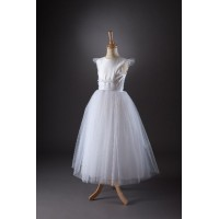 Communion Dress With Glitter Tulle Layered Skirt