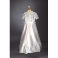 Full length Georgette Chiffon with frilled sleeve, round neck Holy Communion dress