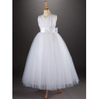 "Full Length with Flared Net Skirt ""V"" neck sleeveless Communion Dress with sash and big bow"