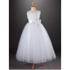 "Full Length with Flared Net Skirt ""V"" neck sleeveless Communion Dress with sash and big bow"