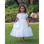 Ballerina Length Holy Communion Dress with bolero and bag