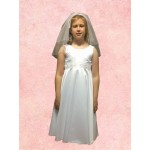Special OFFER this month. Satin Bodice Round Neck Cap sleeves T length Communion Dress:  All Sizes are Chest Size in Inches