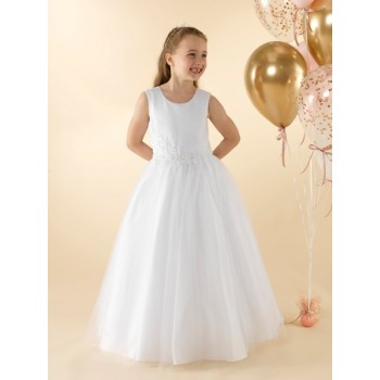 Full skirted holy communion dress with a pleated tulle bodice and beaded floral appliques