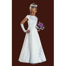 Capped Sleeved Full Length Round Neck Satin Holy Communion Dress