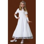 Ballerina Length Round Neck Holy Communion Dress with sleeves