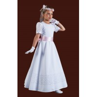 Beautiful Long Plain Holy Communion Dress with round neck and short sleeves