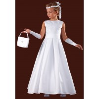 Beautiful Flaired Long Sleeveless Holy Communion Dress with round neck