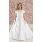 Plain Satin Communion Dress with Slimline Beaded Belt