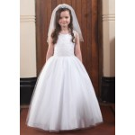 Full skirt sleeveless communion gown