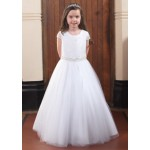 Full Skirt Communion Gown with Short Lace Sleeves