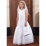Sleeveless Satin Communion Dress with Lace Hem and Waist