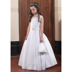 Sleeveless Communion Dress with Lace Detail