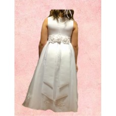 Satin Squared Necked strapped sleeveless  Holy Communion Dress