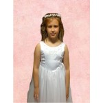 Sleeveless Round Neck flarred satin/net  Holy Communion Dress