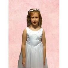Sleeveless Round Neck flarred satin/net  Holy Communion Dress