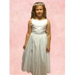 Sleeveless Round Neck flarred satin  Holy Communion Dress