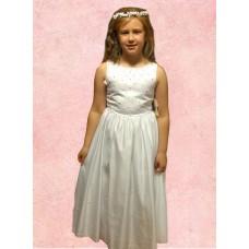 Sleeveless Round Neck flarred satin  Holy Communion Dress