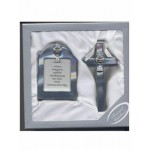 First Holy Communion Silver Cross with Chalice Motif and Matching Photo Frame