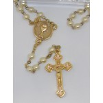 White Rosary with Gold links
