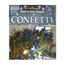First Communion Table Confetti - Silver and Gold Crosses