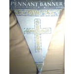 First Communion Blue or Pink Decorative Pennant Banner, 12ft length
