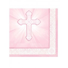 16 - Pink First Holy Communion Napkins, 13' x 13' inches
