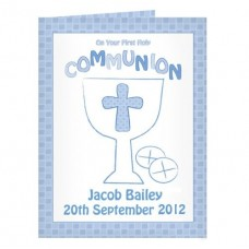 Personalised Communion Card Boy : Fantastic First Holy Communion momento with the added touch: Add a choice of your words e.g. Name of Child, Date and Church to make it very special!!!