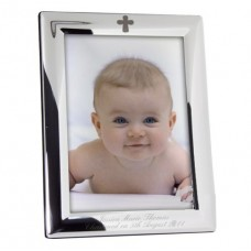 Personalised Silver Plated 5x7 Elegant Cross Communion Picture Frame: Fantastic First Holy Communion momento with the added touch: Add a choice of your words e.g. Name of Child, Date and Church to make it very special!!!