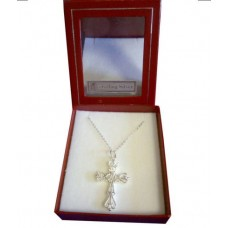 CON868 - Sterling Silver  Confirmation Cross with Chain for Girl: You are welcome to visit Clothes Line shop in West Wimbledon London SW20 9NQ where we have a variety of cards, gifts banners as well as party items