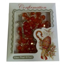 CON874 - Confirmation Rosary in Red: You are welcome to visit Clothes Line shop in West Wimbledon London SW20 9NQ where we have a variety of cards, gifts banners as well as party items