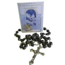 CON876 - Confirmation Rosary in Black: You are welcome to visit Clothes Line shop in West Wimbledon London SW20 9NQ where we have a variety of cards, gifts banners as well as party items