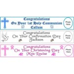G359 - 10ft Personalised Confirmation Paper Banner to mark that special occassion: You are welcome to visit Clothes Line shop in SW London SW20 9NQ