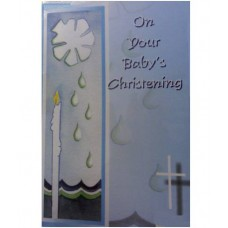C2A - Christening Card: You are welcome to visit Clothes Line shop SW London SW20 9NQ