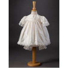 CH373 - A Short Dress With Lleated Detail: Ideal for Baptism/Christening. You are welcome to visit Clothes Line shop SW London SW20 9NQ for Christening Cards, Gifts, Shawls and Party items