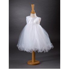 CH374 - A Short Sleeveless Dress With Daisy Trim: Ideal for Baptism/Christening. You are welcome to visit Clothes Line shop SW London SW20 9NQ for Christening Cards, Gifts, Shawls and Party items